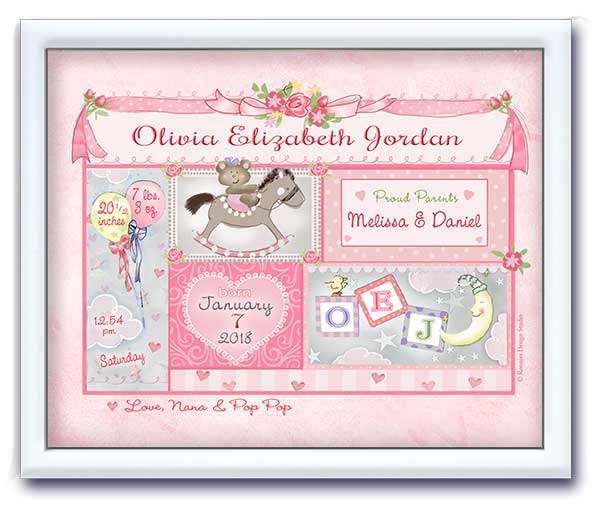 Mini Art Birth Announcement- Pink Baby Patchwork
