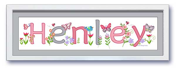 Butterfly Garden Name Frame - Grey & Pink