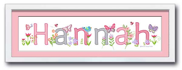 Butterfly Garden Pink Name Frame
