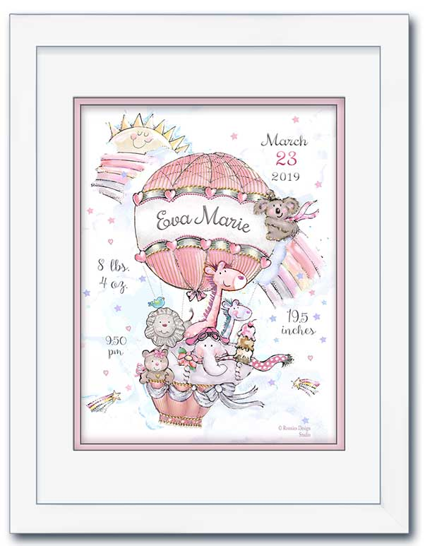 Personalized Hot Air Balloon Birth Announcement Wall Art