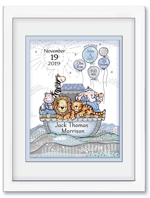 Personalized Noah's Ark Birth Announcement Wall Art
