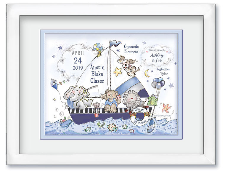 Personalized Sailboat and Animals Birth Announcement Wall Art