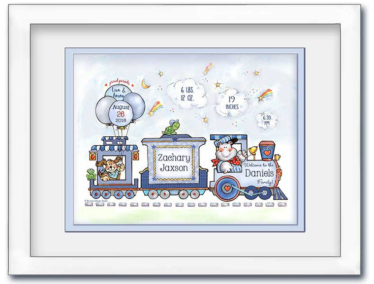 Personalized Choo-Choo Train Birth Announcement Wall Art