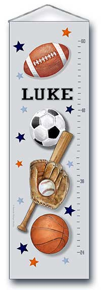 All-Star Sports Growth Chart- includes football, baseball, basketball, soccer
