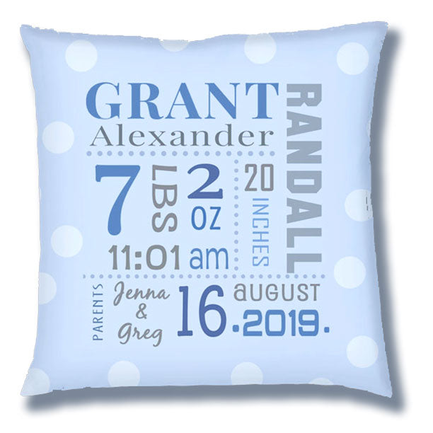 Personalized Birth Announcement Pillow - Baby Boy -All Birth Stats- Soft Blue Pillow