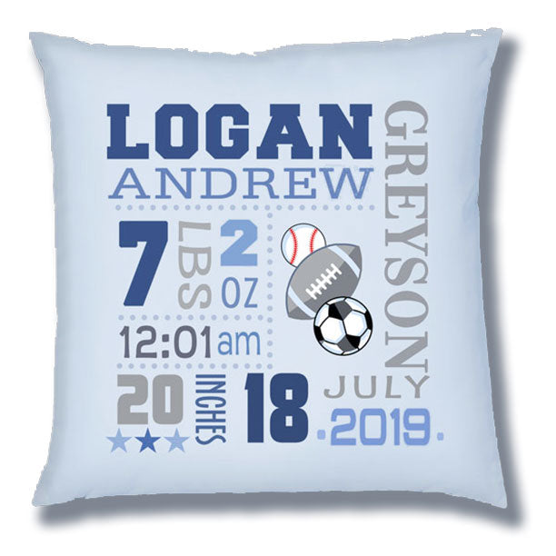 Personalized Birth Announcement Pillow - Baby Boy - Sports Balls - Lt. Blue Pillow