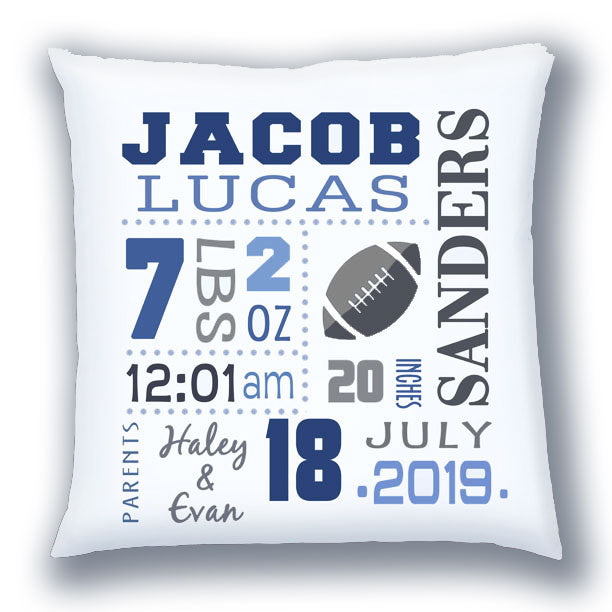 Personalized Birth Announcement Pillow - Baby Boy - Football