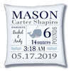Personalize Baby Birth Announcement Throw Pillow - Baby Boy- Whale - Blues & Greys