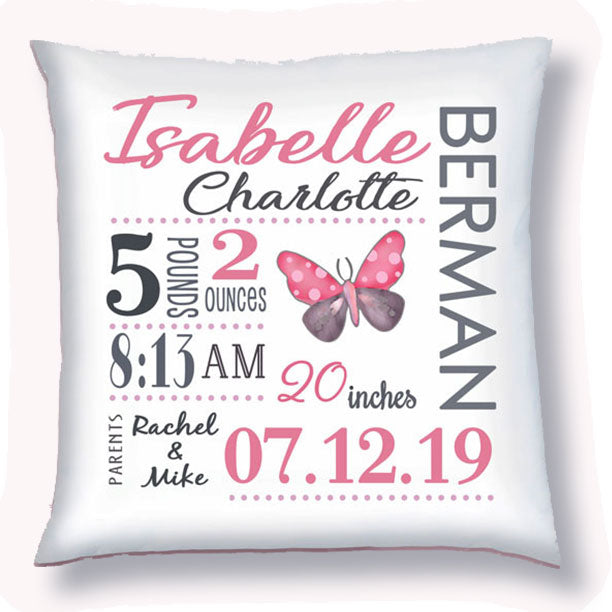 Personalized Birth Announcement Pillow - Baby Girl - Butterfly- Pink & Grey