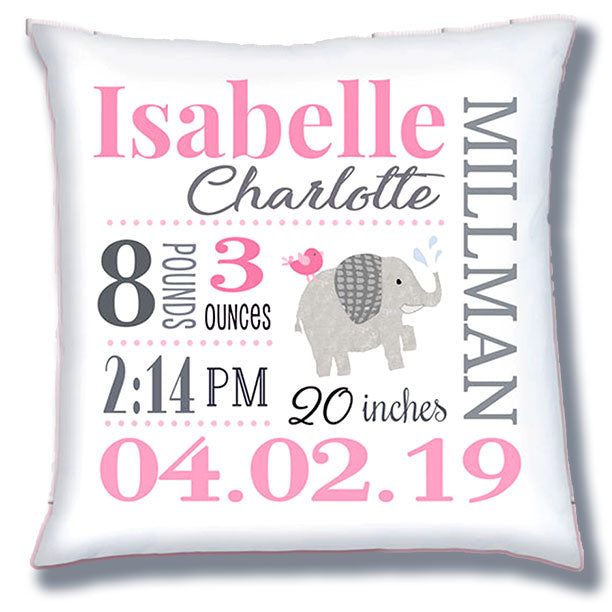 Personalized Birth Announcement Pillow - Baby Girl - Elephant - Pink & Grey