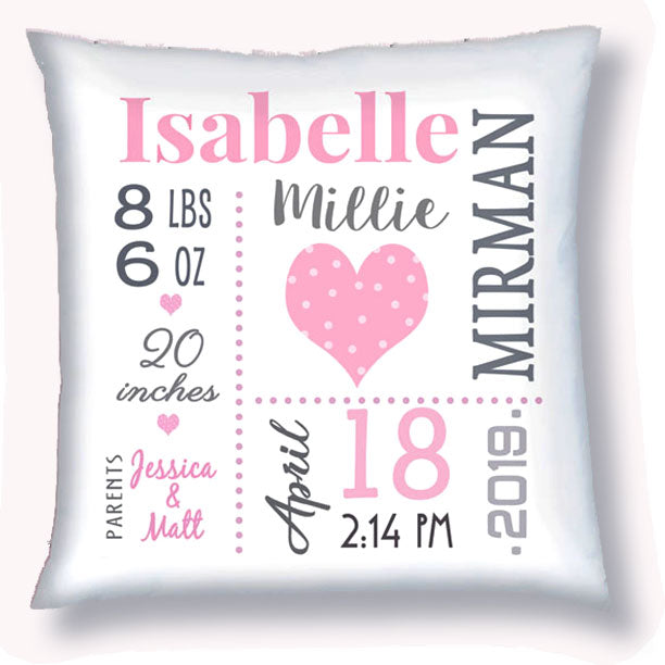 Personalized Birth Announcement Pillow - Baby Girl - Heart - Pink & Grey