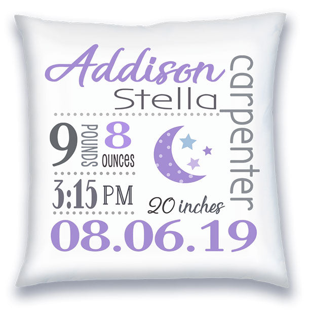Personalized Birth Announcement Pillow - Baby Girl - Moon & Stars - Lilac & Grey