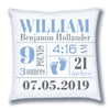 Personalized Birth Announcement Pillow - Baby Boy - Baby Footprints -Light Blue & Grey
