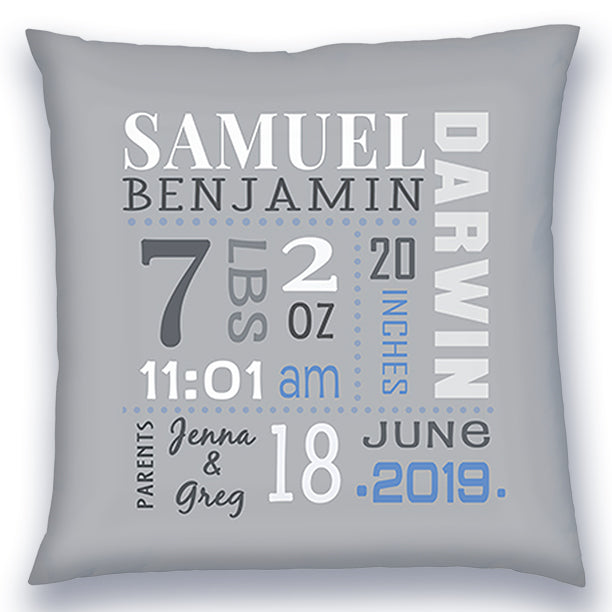 Personalized Birth Announcement Pillow - Baby Boy -All Birth Stats- Grey Pillow