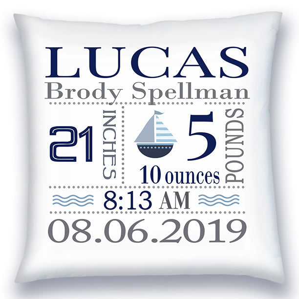 Personalized Birth Announcement Pillow - Baby Boy - Sailboat - Navy & Grey