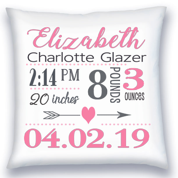 Personalized Birth Announcement Pillow - Baby Girl - Heart & Arrow - Pink & Grey