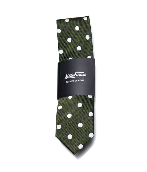 Better Fellow Greenhorn Olive Green Dotted Slim Silk Tie