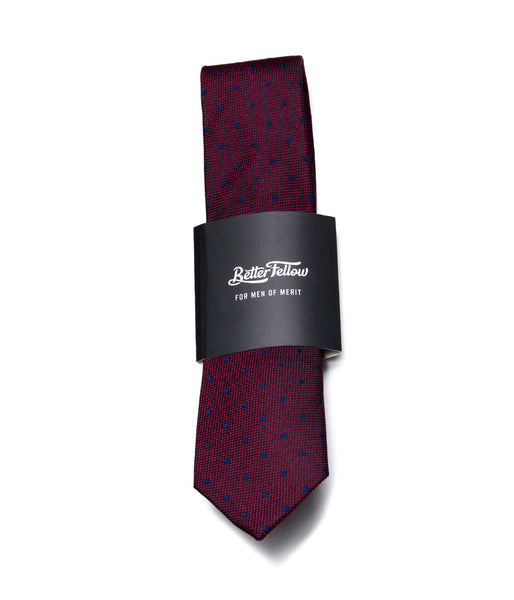 Better Fellow Helix Maroon and Blue Dotted Slim Silk Tie