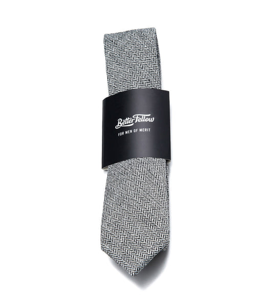 Better Fellow Monument Grey Houndstooth Wool Slim Tie