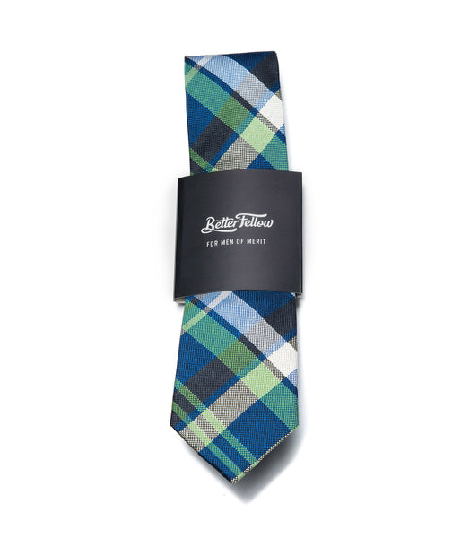 Better Fellow Westfir Navy Blue and Green Plaid Slim Silk Tie
