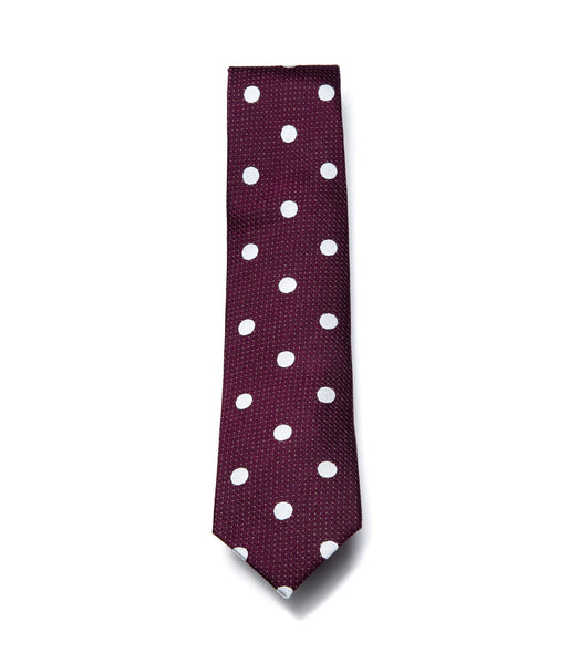 Better Fellow Prescott Maroon White Dotted Slim Silk Tie