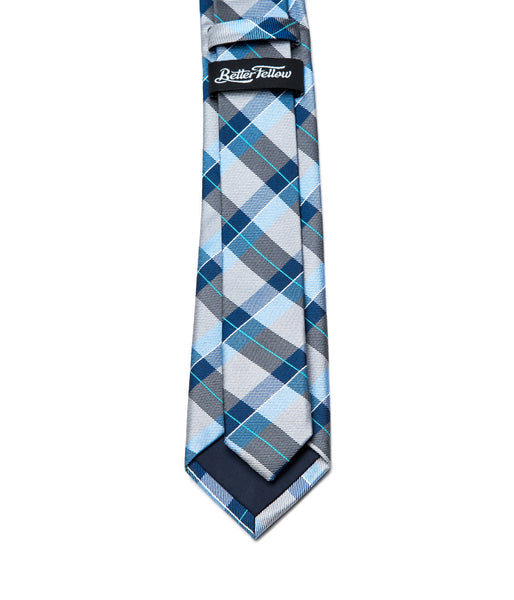 Better Fellow Ashland Blue Grey Plaid Silk Tie