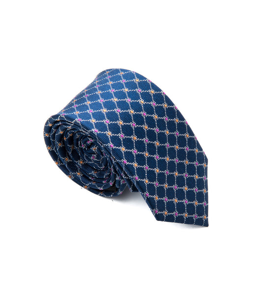 Better Fellow Monroe Blue Purple Yellow Dotted Slim Silk Tie