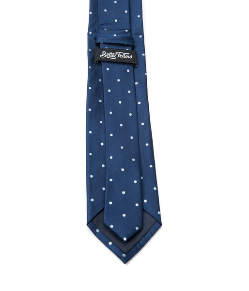 Better Fellow Bartlet navy blue and white dotted silk slim tie