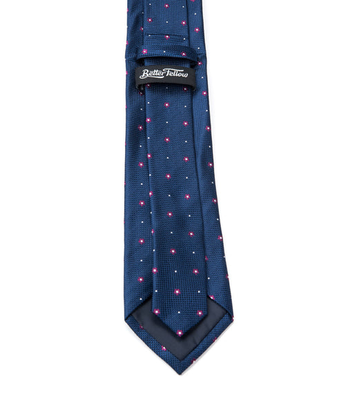 Better Fellow Bartlet Navy Blue Floral Dotted Silk Men's Fashion Slim Tie