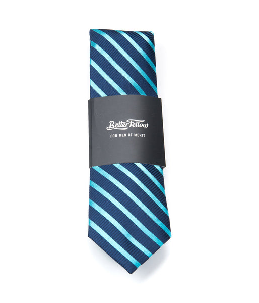 Better Fellow Clarence, Navy and Bright Blue Striped Silk Men's Fashion Slim Tie