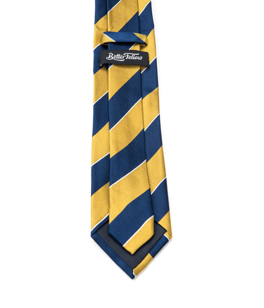 Better Fellow Everlong Gold and Navy Striped Silk Men's Fashion Slim Tie