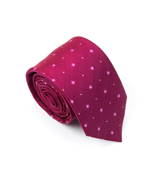 Better Fellow Leo Magenta and Fuchsia Dotted Floral Silk Men's Fashion Slim Tie
