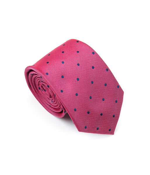 Better Fellow Phillip Fuchsia Magenta and Navy Dots Silk Men's Fashion Slim Tie