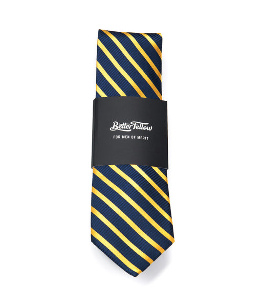 Better Fellow Stanley Navy and Yellow Gold Thin Striped Men's Fashion Slim Tie