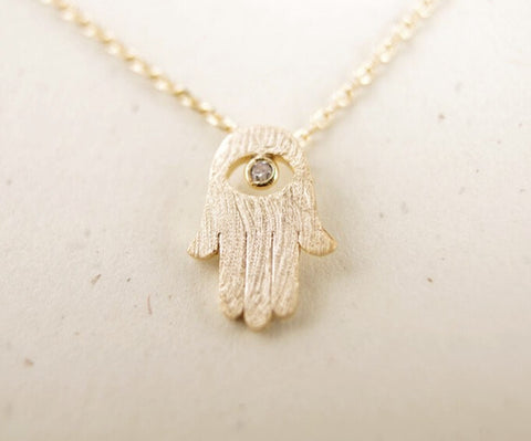 10 pcs ~18 k gold necklaces Hamsa ~ pendant necklace-Sunetra