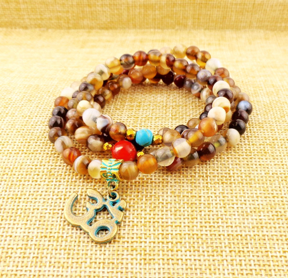 108 Mala Natural stone Beads with OM Pendant  Necklace  Elastic Fashion Yoga jewelry-Sunetra