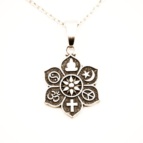 10pcs COEXIST Tibetan Silver Lotus Pendant OM Religious Belief Necklace For Women Men Fashion Jewelry SGL221-Sunetra