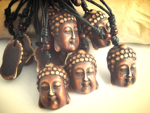12pcs Lucky resin imitation jewelry ~ Brown Buddha head bone necklaces & pendants-Sunetra