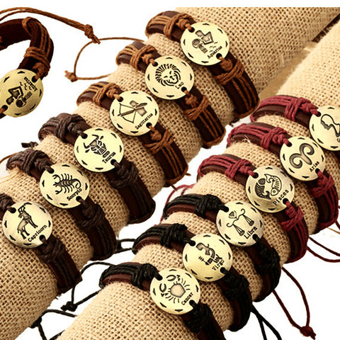 12pcs ~ 12 Zodiac Signs Leather Bracelet Constellations ~Adjustable Bracelet ~-Sunetra