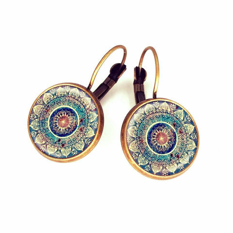 Cabochon Mandala Lotus Earrings-Sunetra