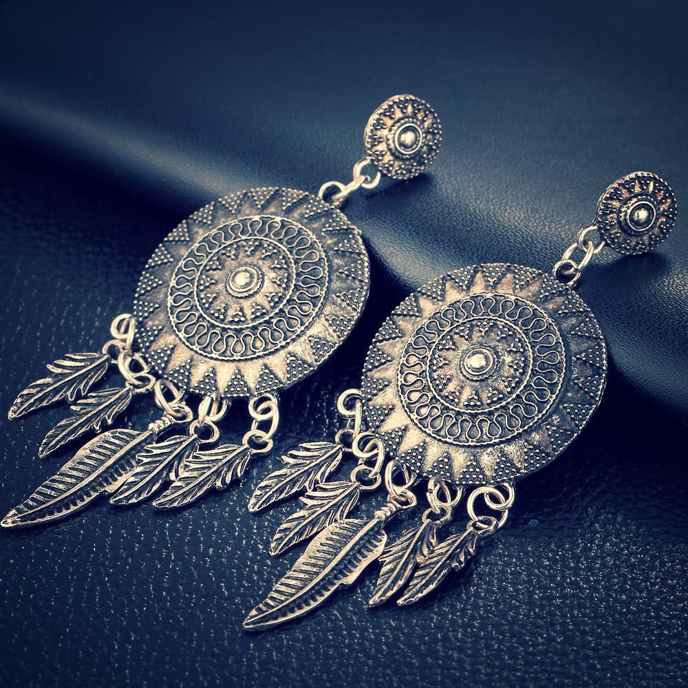 Dream Catcher Vintage Leaf Feather Dangle Earrings-Sunetra