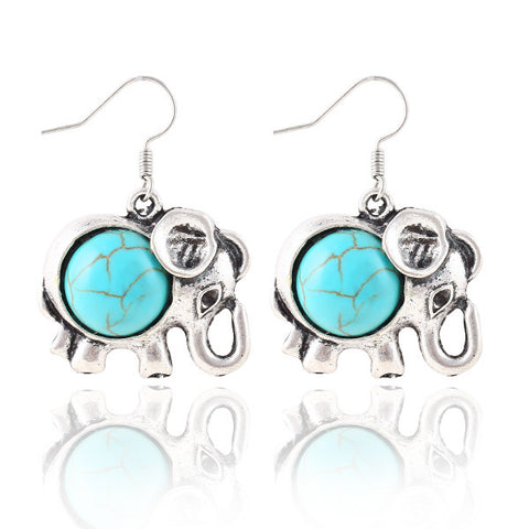 Tibetan silver Color ~ Vintage Bohemia Cute ~ Animal Elephant Turquoise drop earrings ~-Sunetra
