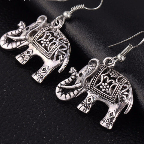 17KM Unique Tibetan Silver Color Hollow Carved Elephant  Drop Dangle Fashion Hollow Out Vintage Earrings For Women Party Jewelry-Sunetra