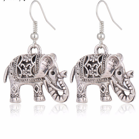 Unique Tibetan Silver Color Hollow ~ Carved Elephant Drop Dangle ~-Sunetra