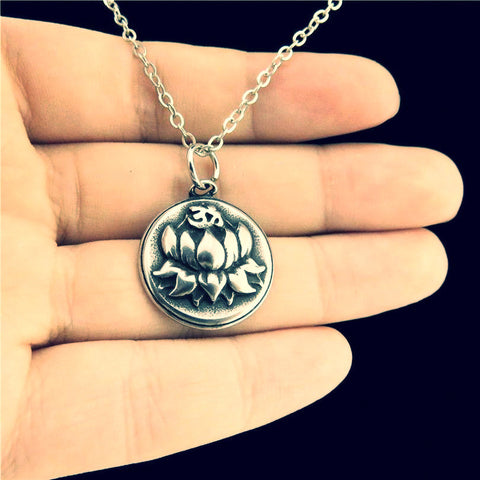 Antique Pewter Stainless Steel Plant Lotus Flower ~Collar Choker Necklace 18""