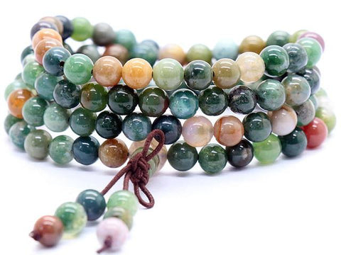 6mm India Agate Tibetan Buddhist 108 Prayer Beads ~ ॐ-Sunetra
