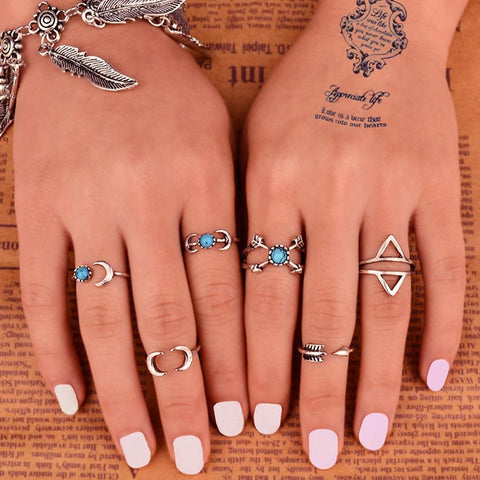 6PCS/Set Bohemia Vintage ~Unique Carving Tibetan Silver Plated knuckle Joint Ring Set-Sunetra