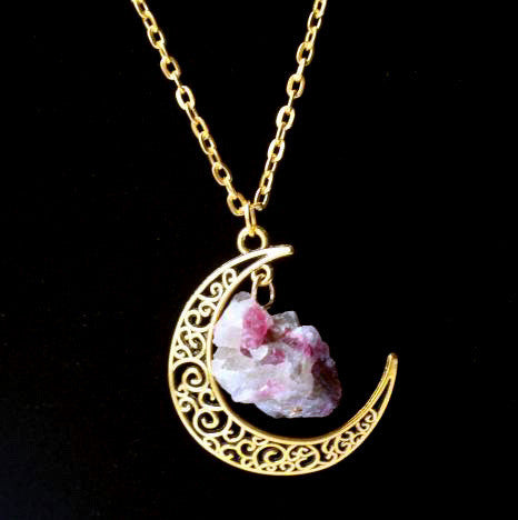 Sailor Moon Necklace ~Sun And Moon ~60cm Natural Stone Crystal Amethyst Tourmaline Necklace  3-Sunetra