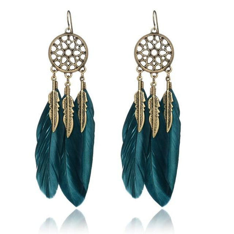Dream Catcher Vintage Leaf Feather Earrings-Sunetra