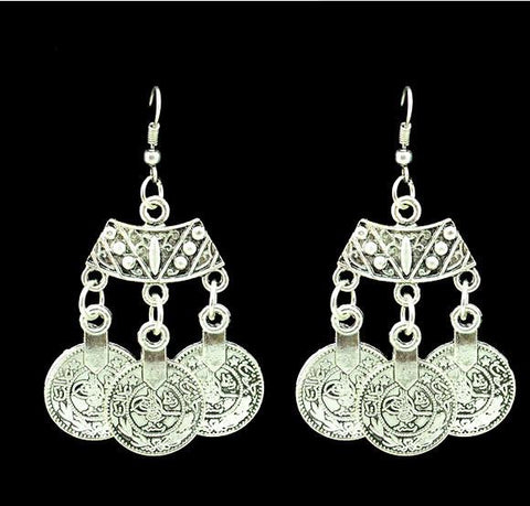 Coin Long Earrings For Women Bohemian ~Drop Earrings Metal Carving Jewelry-Sunetra